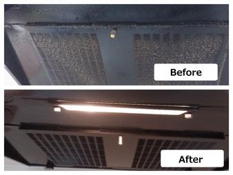 レンジフード(換気扇)フィルターのクリーニング前、クリーニング後の画像