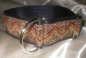 Zugstopp, Halsband, Gurtband schwarz, edle Borte