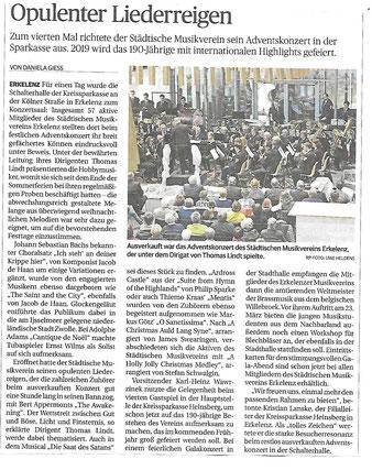 Städtischer Musikverein Erkelenz Adventskonzert 2018, Dirigent Thomas Lindt