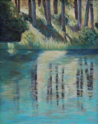 Pastellbild See im Wald