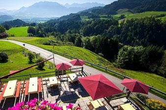 Blick ins Tal nach Oberaudorf vom Berggasthof Hummelei