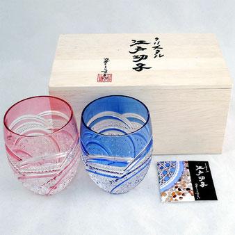 カガミクリスタル 江戸切子 ペアロックグラス 魚子に麻の葉紋