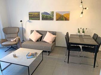 Ferienwohnung in Endingen: Wohnküche vollständig eingerichtet: Esstisch mit vier Stühlen, Küchenzeile mit E-Herd, Backofen, Geschirrspülmaschine, Kaffeemaschine, Toaster, Wasserkocher, Kochutensilien und Geschirr
