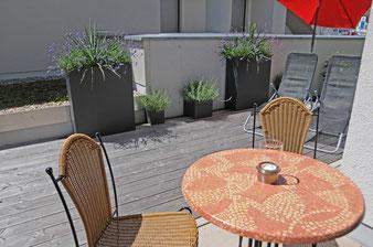 Fewo Sonnenterrasse für das Frühstück im Freien