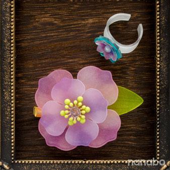 立体プラバンでつくる大きな花のクリップコサージュ キットサンプル