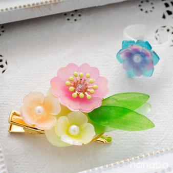 立体プラバンでつくる小さな花のクリップコサージュ キットサンプル