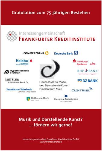 Anzeige in der Börsen-Zeitung anlässlich des 75-jährigen Jubiläums der Hochschule für Musik und Darstellende Kunst, Frankfurt am Main.