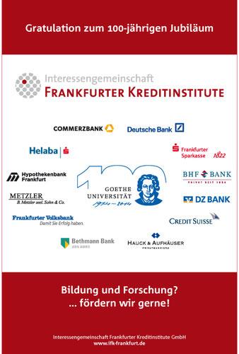 Anzeige in der Börsen-Zeitung anlässlich des 100-jährigen Jubiläums der Goethe-Universität, Frankfurt am Main.