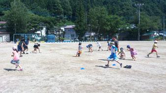 長澤先生のスポーツ教室では、子どもが動く動く!!遊んでいる時は熱中症も忘れるくらい?遊び疲れてから熱を出したりするんです。