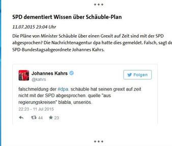 """SPD weiß von nichts (Schäubles """"Grexit-Papier""""). Screenshot: Helga Karl"""