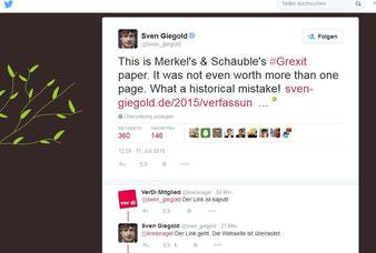 Screenshot Twitter Finanzexperte der Grünen im EU-Parlament Sven Giegold. Screenshot: Helga Karl 11.7.2015
