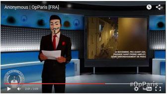 """Originalvideo"" Anonymous Frankreich. Screenshot Helga Karl 17.11.2015"