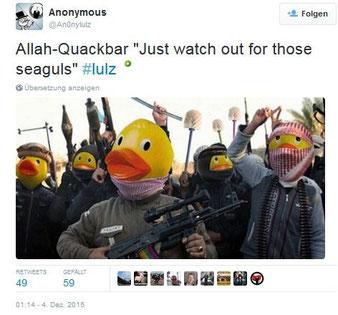 DAESH mit Klobürsten und Entengesichtern. Twitter-Anonymous: Allah-Quackbar. Screenshot: Helga Karl 4.Dez.2015
