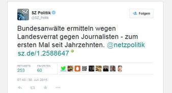 """SZ Süddeutsche Zeitung über Ermittlungen wegen """"Landesverrat"""" gegen Journalisten"""