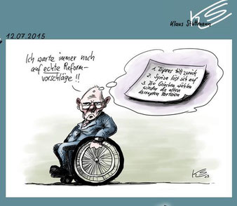 """Karikatur von Klaus Stuttmann über Wolfgang Schäuble: """"ECHTE"""" Reformen, Sturz von Tsipras und Zerstörung von Syriza. Screentshot: Helga Karl"""