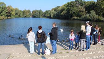 Menschen stehen am Ufer eines Sees. Karpfenteich im Schlosspark Charlottenburg. Foto: Helga Karl