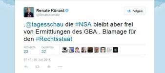 """""""Blamage für den Rechtsstaat"""", Renate Künast über Ermittlungen gegen Journalisten wegen """"Landesverrat"""" durch Generalbundesanwalt auf Twitter"""