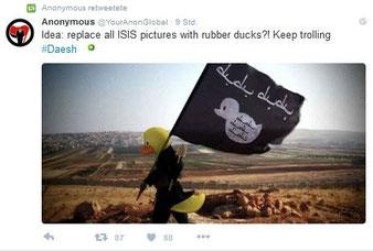 """Ente mit """"IS-Fahne"""" mit Entensymbol. Anleitung für Trolling IS. Screenshot: Helga Karl 4.12.2015"""