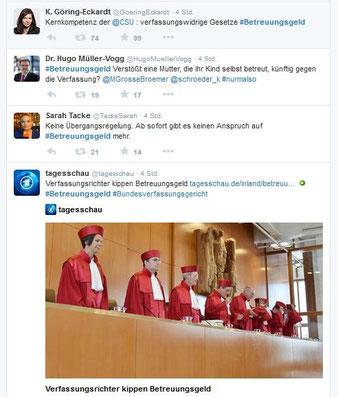 """#Betreuungsgeld"""" bei Twitter-Suche am 21.Juli 2015"""