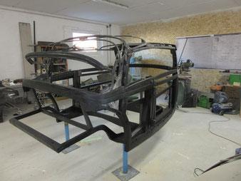 ein Holzgestell einess Mecedes Cabriolet, Gefertigt in der Stellmacherei Axel Schubotz.