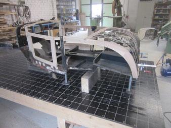 das Holzgestell eines BMW Dixi angefertigt durch die Stellmachereri Holzbearbeitung Axel Schubotz