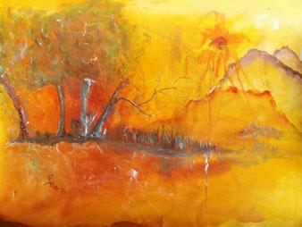 Lichtblick, Bild in Aquarell, gelb, Sonne, Berge, Wald, hell, fröhlich