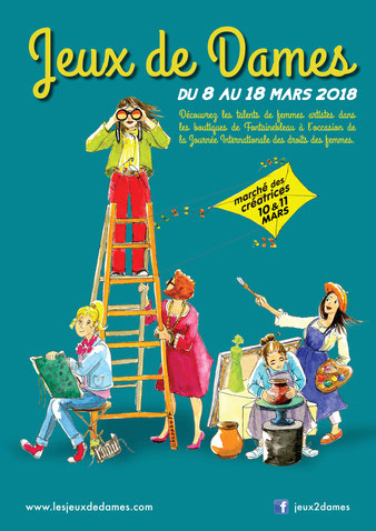 affiche Jeux de Dames Fontainebleau 8 au 18 mars 2018