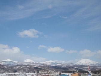 帰りの道路から見た、ニセコ山系の山々、是非また来たい。