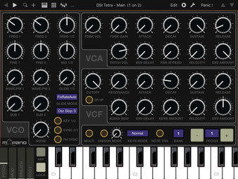 Xtetr TB-LT by mxpand, free, for DSI Tetra analog synthesizer, Dave Smith Instruments (Sequential), TB MIDI Stuff app editor, controller template for Apple iPad