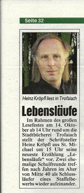 Buchvorstellung Heinz Kröpfl Lebensläufe Lesung Buchpräsentation Lesefest Trofaiach
