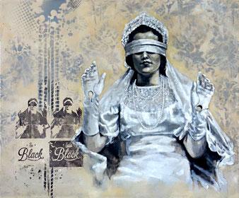 BACK TO BLACK - 2016- acrylique, spray paint et huile sur toile - 46x55 cm
