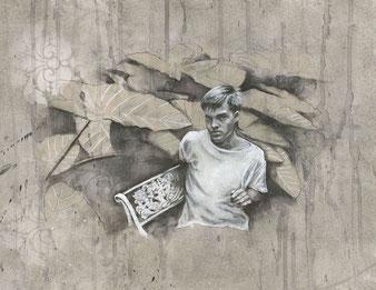 TRUMAN' S GARDEN- Acrylique, graphite, gesso sur papier -30x42 cm