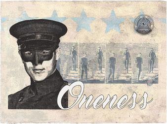 ONENESS - acrylique, gesso, pigment et jet dencre sur papier - 33x47 cm