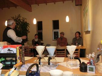 エムズではコーヒー教室を月1回、夜開催します。