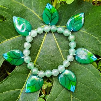 """Bracelet féérique feuilles """"Murmure du printemps"""" avec perles en aventurine"""