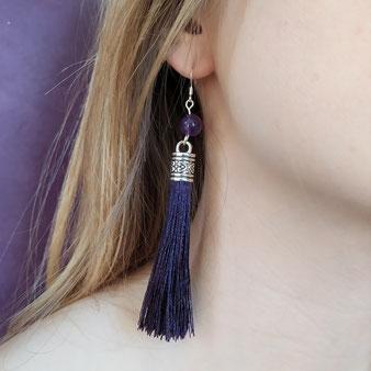 """Boucles d'oreilles """"Ange gardien"""" violette"""