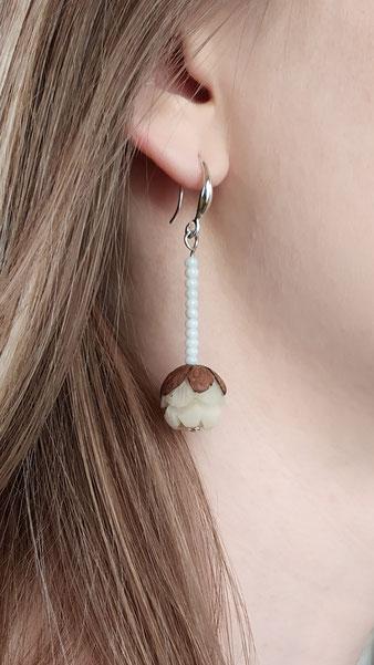 """Boucles d'oreilles féérique """"Bouton de lotus"""""""