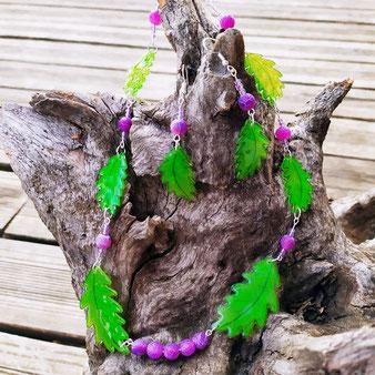 """Collier et boucles d'oreilles chamaniques feuilles de chêne """"Générosité"""" avec agate"""