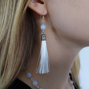 """Boucles d'oreilles de protection """"Ange gardien"""" avec cristal de roche"""