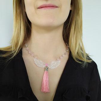 """Collier de connexion """"Ange d'Amour"""" avec quartz rose"""