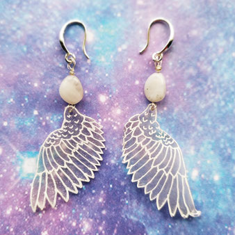 """Boucles d'oreilles angéliques """"Renaissance"""" avec cristal de roche"""
