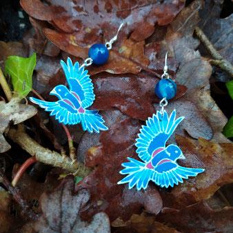 """Boucles d'oreilles Pie """"Guérison"""" avec Agate bleue"""