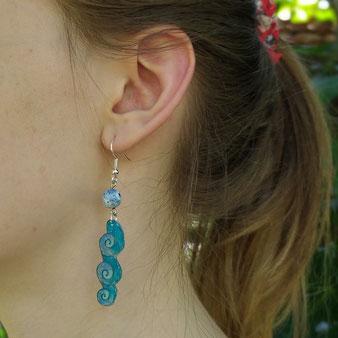 """Boucles d'oreilles féériques """"Le coeur de l'océan avec agate dragon"""