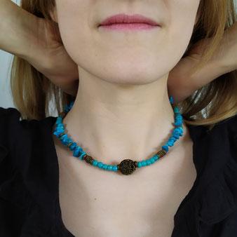 Collier chamanique d'ancrage avec turquoise
