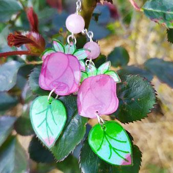 """Boucles d'oreilles boutons de rose """"Tendresse"""" avec calcédoine"""