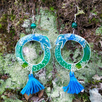 """Boucles d'oreilles chamanique """"Ouroboros"""" avec malachite"""