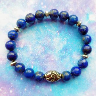"""Bracelet chamanique """"Les voies de la perception"""" avec Lapis-Lazuli"""