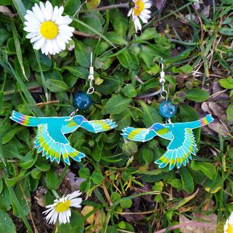 """Boucles d'oreilles oiseau vert """"Croissance"""" avec agate verte"""