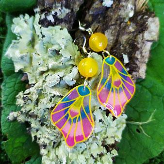 """Boucles d'oreilles féériques papillon """"Rayonnement"""" avec agate jaune"""