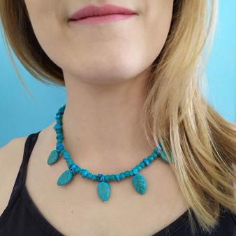 """Collier chamanique """"Printemps turquoise"""" avec turquoise"""
